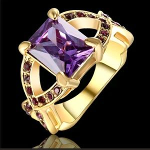 Purple Amethyst Crystal CZ Yellow Gold Filled Ring